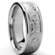 Bonndorf Laboratories Titanium Floral Engraved Comfort Fit Wedding Band