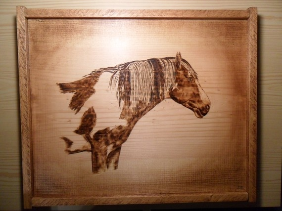 Woodburned Horse Wild Mustang by mulberrylanefolkart on Etsy, $49.95