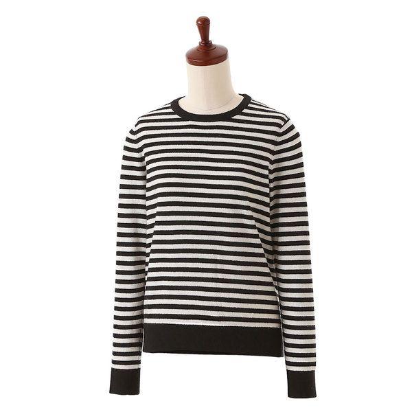 カシミヤ ボーダークルーネックセーター ブラック×ホワイト