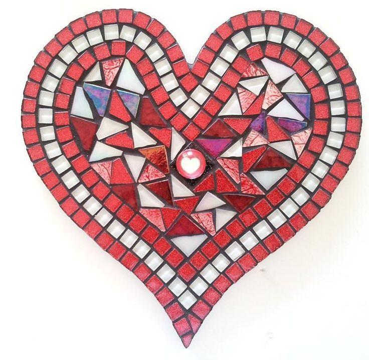 Mosaic Red Glitter Heart - Kit-Set by MosaicStudio1 on Etsy