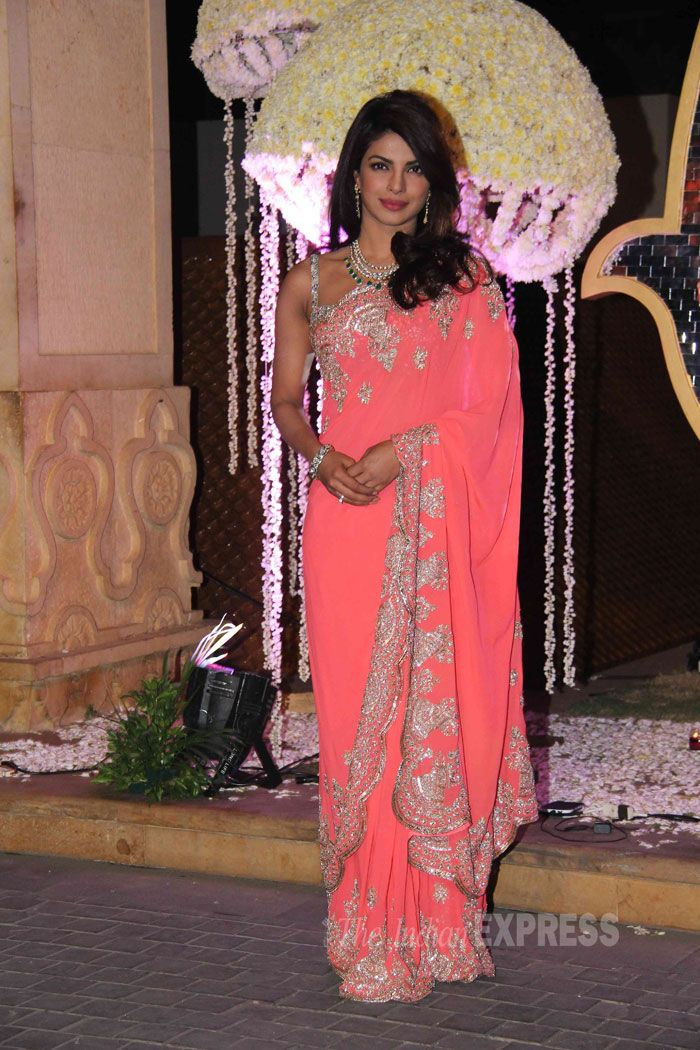 Priyanka Chopra was pretty as a peach in a bejeweled Manish Malhotra sari