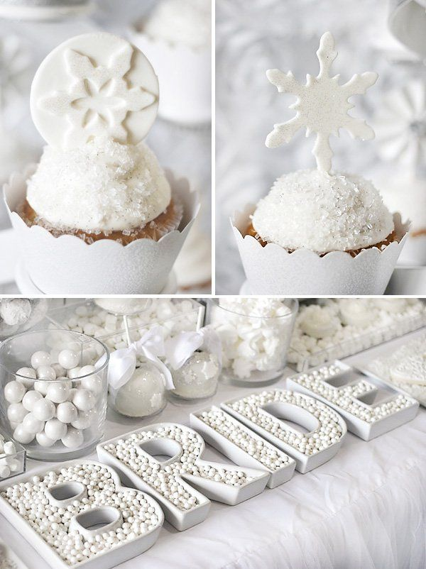 Trend Alert: All White Bridal Shower. Love these sparkling white dessert options for a winter bridal shower.