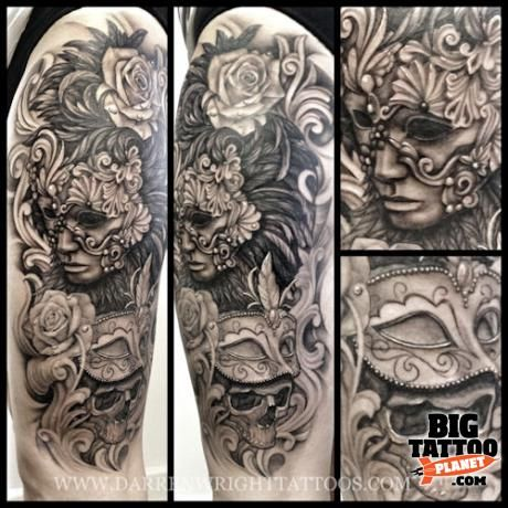 masquerade tattoo | Darren Wright - Black and Grey Tattoo | Big Tattoo Planet