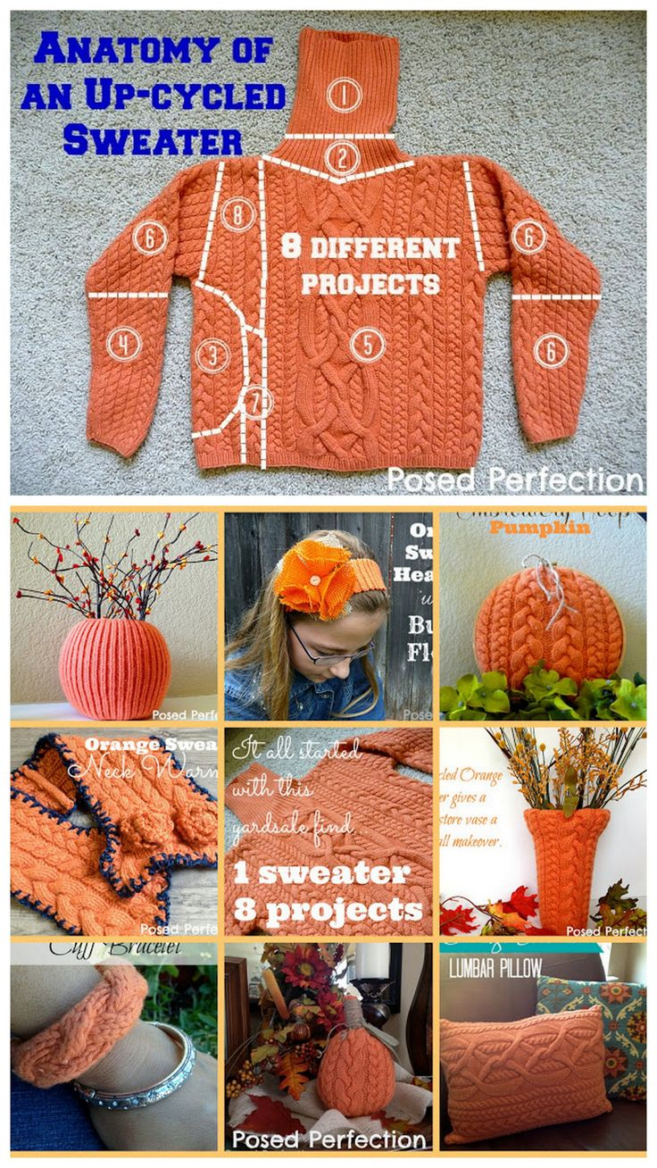 How to Recycle a Whole Sweater from Posed Perfection.This post shows how to make 8 projects from 1 recycled sweater: • Sweater Cuff Bracelet • Orange Sweater Neck Warmer • Sweater Pumpkin Vase •...