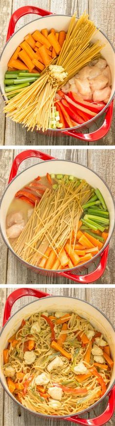 One Pot Wonder Chicken Lo Mein is simple. Just put uncooked pasta, chicken, veggies, broth, and seasoning into a pot, simmer, and it creates a yummy sauce.