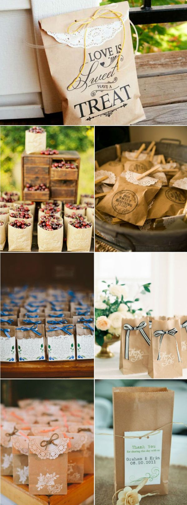 country rustic kraft wedding favor bags