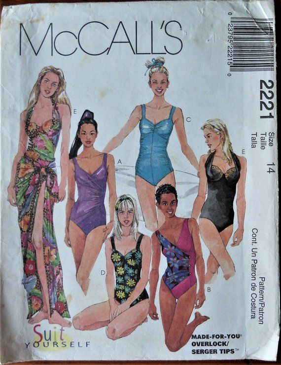 d82f0180f8 McCalls 2221. Misses swimsuit and sarong pattern. One piece swimsuit  pattern. Tank swim suit. Pareo skirt pattern. Sarong pattern. Size 14.