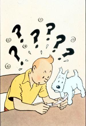 Tintín y su perrito Milú, en una viñeta de las aventuras del célebre reportero y detective.