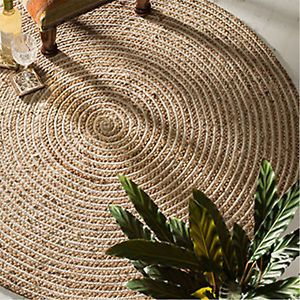 Fair Trade Jute & Cotton Braided Natural Round Indian Rug 90 & 120 cm