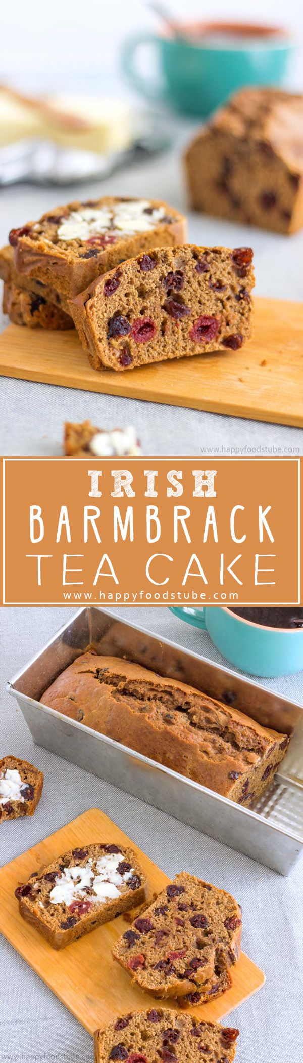 Irish Barmbrack Tea Cake or Irish Tea Brack. Traditional Halloween treat in Ireland. Dried fruit & spices make it extra delicious! Try my yeast-free recipe! | happyfoodstube.com