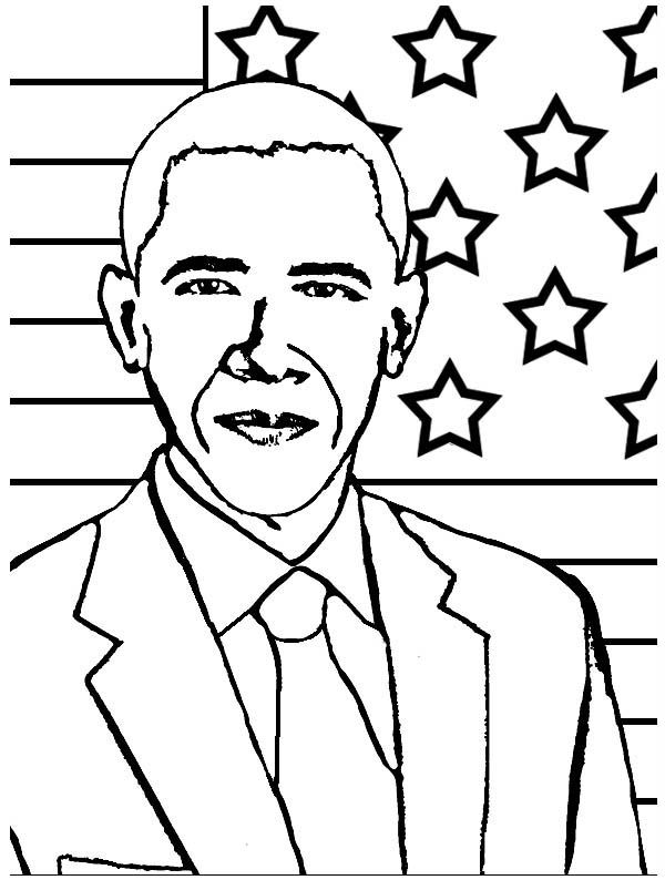 Barack Obama President Barack Obama Coloring Page Black