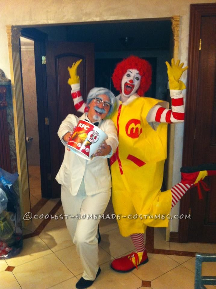 Funny Couples Homemade Halloween Costume: Ronald McDonald and Colonel Sanders... This website is the Pinterest of costumes