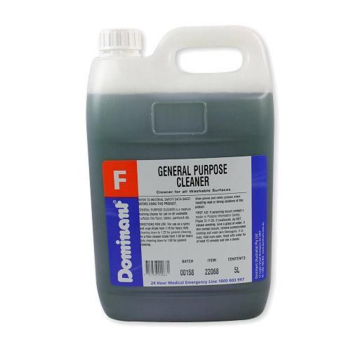 Dominant General Purpose Cleaner is a clear green liquid with a fresh herbal-lavender fragrance.  It is used to clean all normal washable surfaces on a regular basis, cleaning while also deodorising.