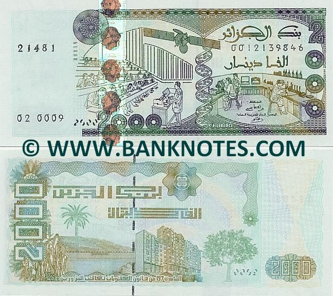 Algeria 2000 Francs 2011 -  Front: University auditorium or lecture hall; space satellite; double helix DNA strand; scientific laboratory. Back: Wheat; palm tree; body of water; high-rise residential buildings; olive tree. Watemark: Vertically repeated portrait of Abdelkader El Djezairi (Abd El-Kader Ben Muhieddine; Emir Abdelkader). Signature: Mohamed Laksaci (Governor); Mr. Karim Djoudi (Minister of Finance). Predominant colours: Blue and green. Date: 24 March 2011. Date of Release: 28…