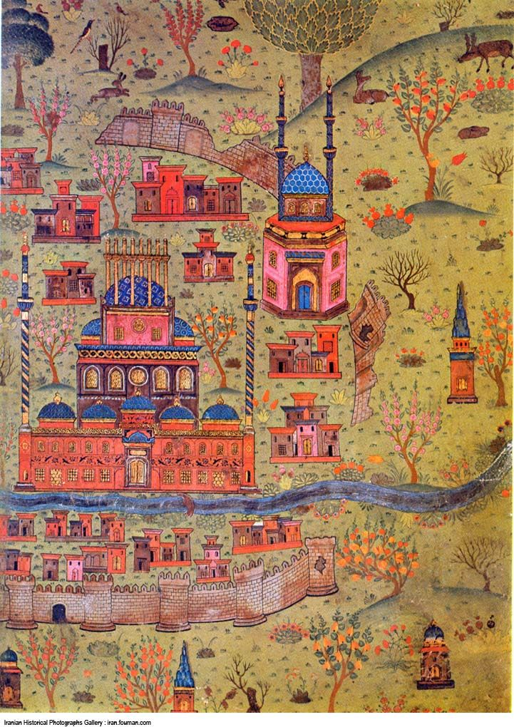 1537 The Blue Dome of the Soltaniyeh Mosque (Iran). By Ottoman Turk Matrakçı Nasuh, a polymath who created a new form of art under Suleyman that depicted the topography of cities of the Ottoman Empire with great precision and detail. Istanbul University Library 5967.