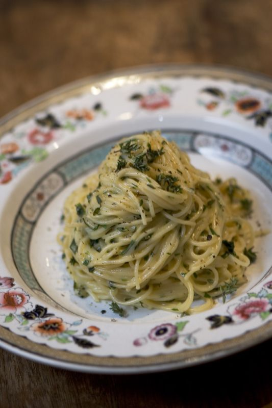 Angel's Hair Pasta with a Cream and Herb Sauce