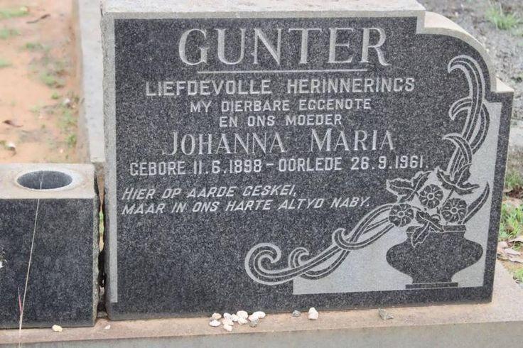 GUNTER Johanna Maria 1898-1961 Kwazulu-Natal, VRYHEID, Main cemetery