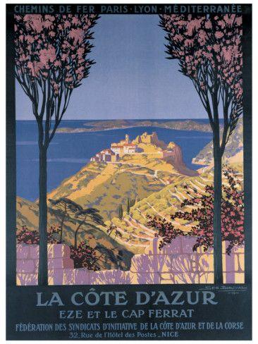Vintage Travel Poster - South of France - Eze / Cap Ferrat www.elegant-address.com