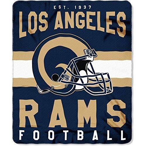 NFL Rams Throw Blanket 50 X 60 Football Themed Bedding Sports Patterned Team Logo Fan Merchandise Athletic Team Spirit Fan Blue Gold Fleece