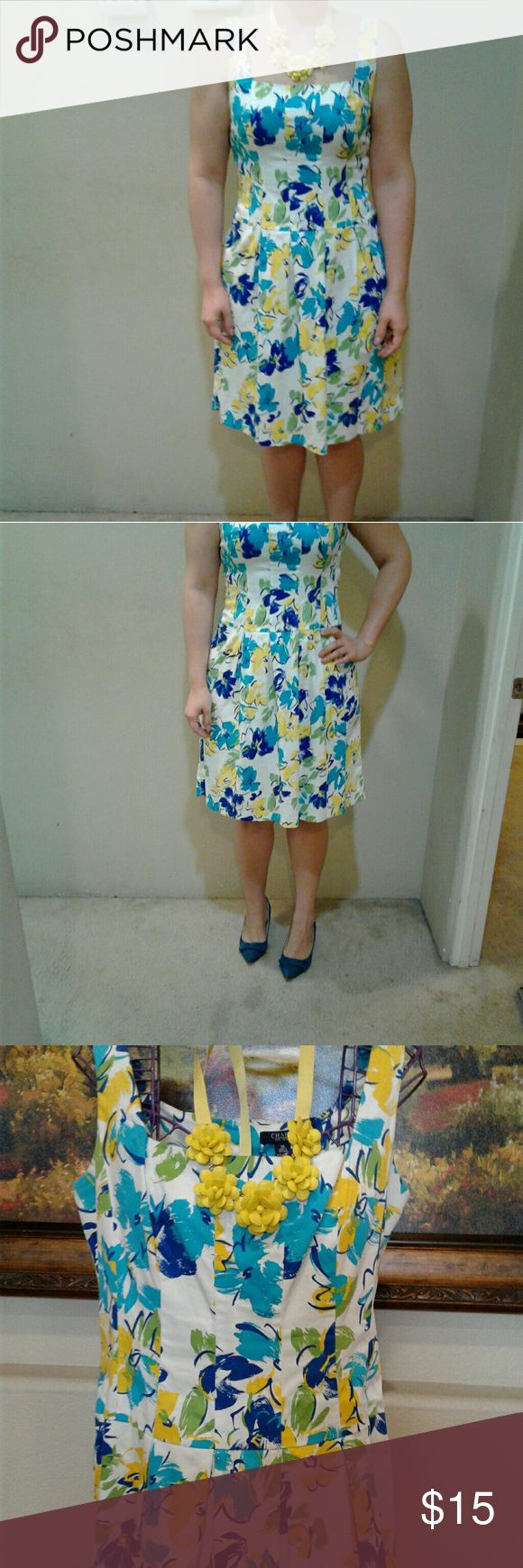 Dress Beautiful floral blue and yellow dress, great for spring time! Chaps Dresses Midi