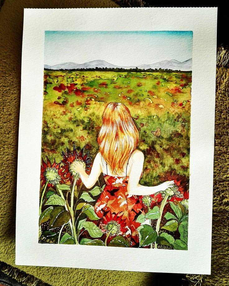 "30 Me gusta, 3 comentarios - Jenifer Ortiz (@miafirenze) en Instagram: ""Pradera #acuerela #watercolors #ecoline #illustration #instagram #instagood #dibujo #draw…"""