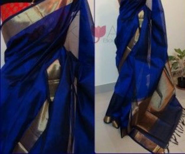 #Indian #Saree Bright blue silk cotton with  Red Brocade blouse