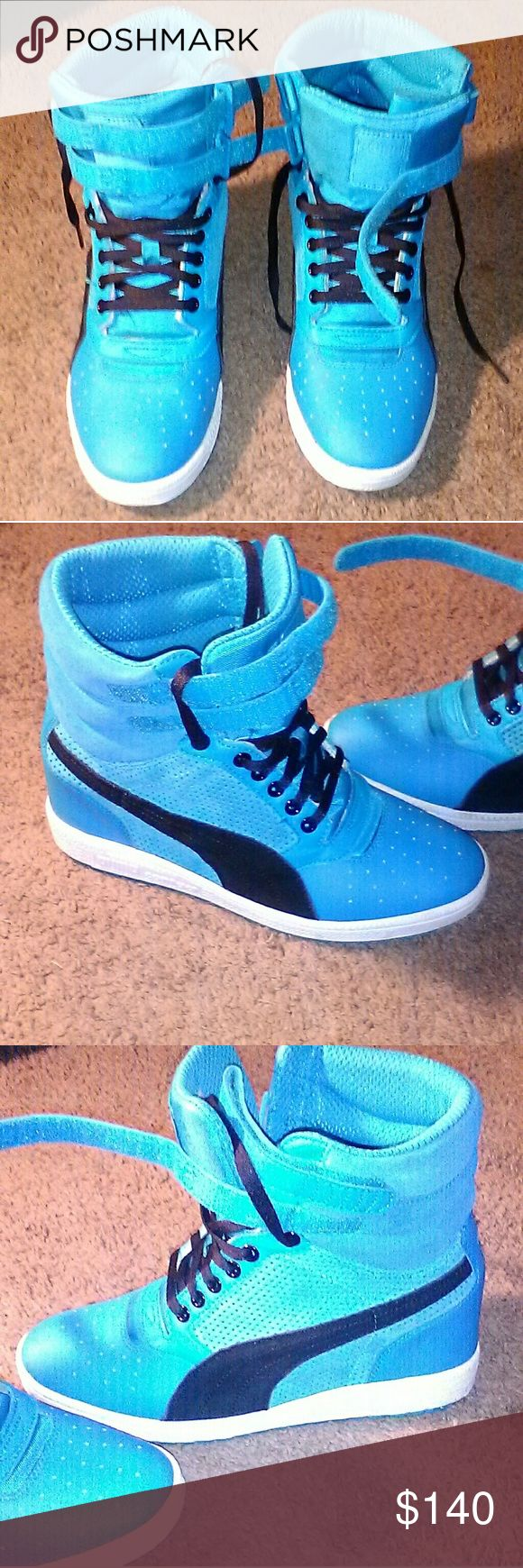 Turquoise Wedge Shoes Very good condition used wedge tennis shoes Size 10 Puma Shoes Sneakers