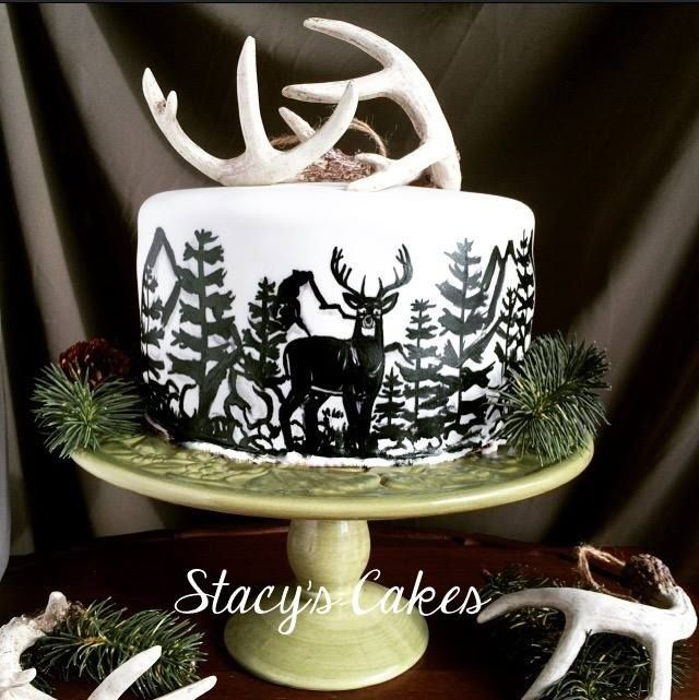 Stacys Cakes - Hand Painted Deer Outdoor Hunting Silhouette Cake