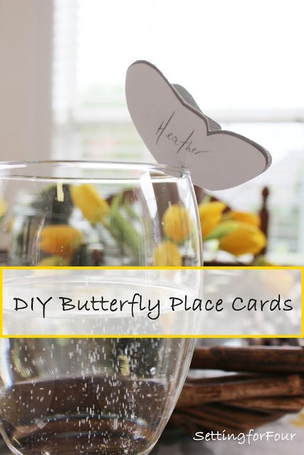 Easy Spring tablescape idea! DIY Butterfly place cards personalized for your guests!