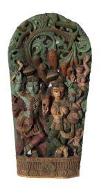 Ancien Panneau bois sculpté statue hindoue Vishnu et Lakshmi 119 cm-47 Nepal-Inde