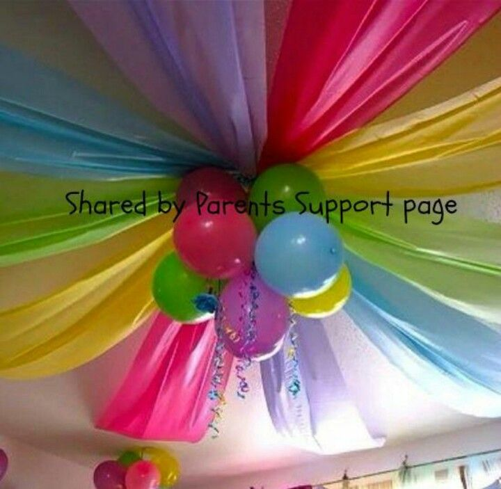 I would do different colors. Use dollar tree plastic table clothes cut down the middle length wise. And maybe use a more elegant center instead of balloons. Or just use chandelier over table as the center if they have one
