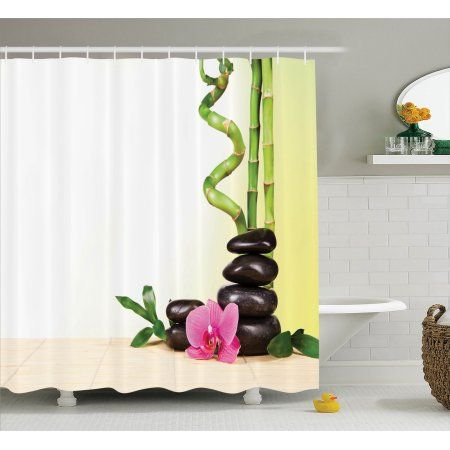 Spa Decor Shower Curtain Set, Spa Still Calm Life Theme With Relax Symbol Bamboo Sprouts And Rocks Asian Meditative Zen Concept, Bathroom Accessories, 69W X 70L Inches, By Ambesonne