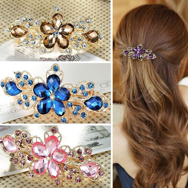New Fashion Women Jewelry Crystal Rhinestone Flower Hair Barrette Clip Hairpin #Unbranded