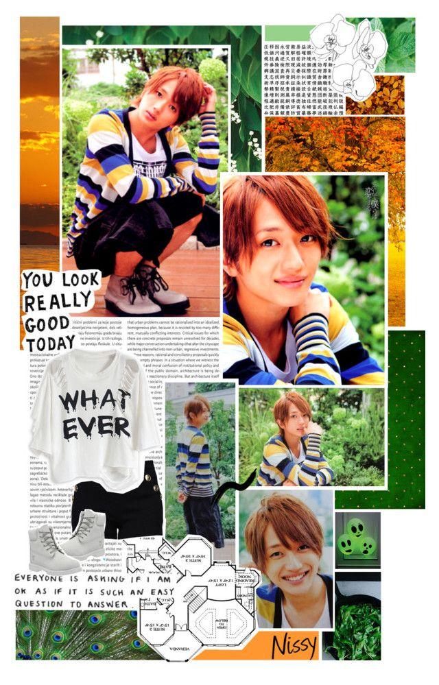 """AAA - Nissy [Takahiro Nishijima]"" by kairimikio ❤ liked on Polyvore featuring Oris, Fraiche, F, Boutique Moschino and Timberland"