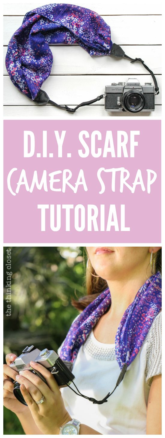 DIY Scarf Camera Strap Tutorial: Upcycle a scarf into a snazzy camera strap that will quickly become your new favorite accessory. This sewing tutorial will walk you through each step of the fun refashion. Happy Scarf Week 2015!