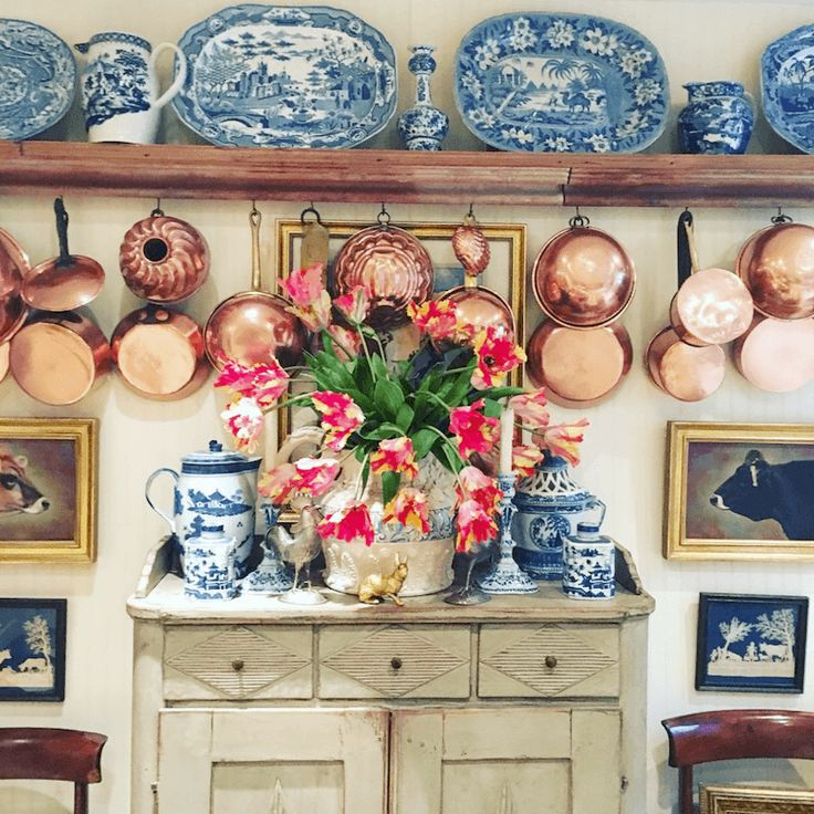 Fabulous kitchen with blue and white transferware platters, Chinoiserie and fabulous copper pots by Jonathan Gargiulo