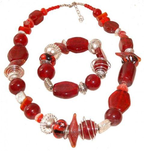 Halskette aus echten Glasperlen rot, Halsband