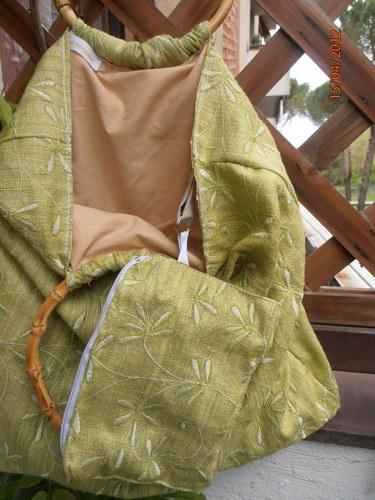 borsa di cotone e seta con portamonete