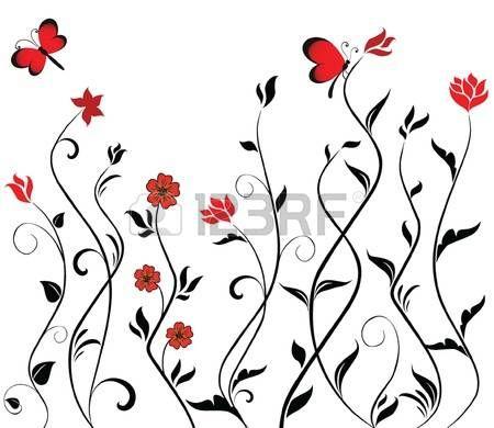 flower stencil: Floral frontière perméable