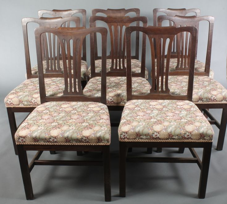 Lot 817, A set of 8 19th Century Hepplewhite style dining chairs with upholstered drop in seats, on square supports with H framed stretcher, est £300-400