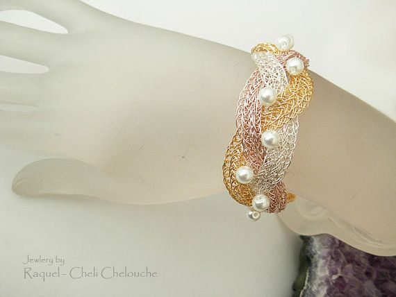 Braided Cuff Bracelet Tri color in Rose Gold by Raquelchelouche