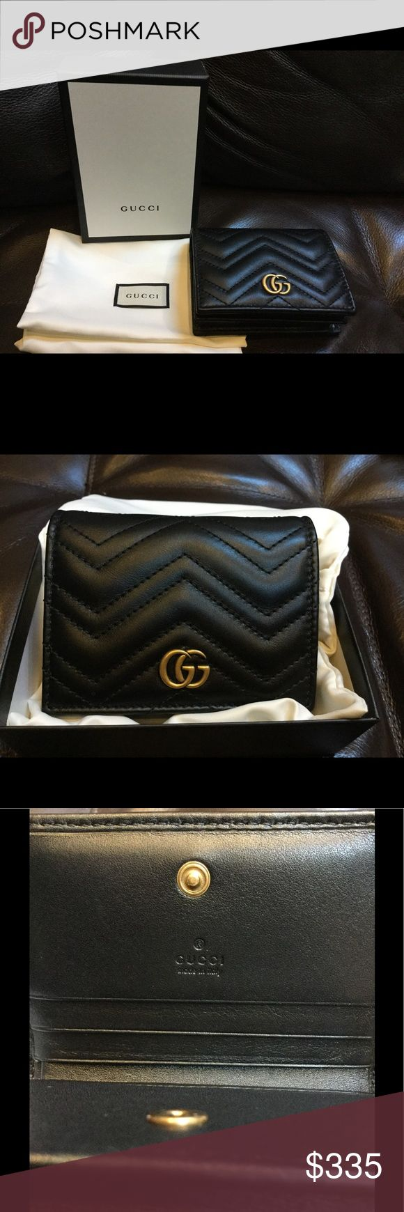 Gucci GG marmont chevron leather card case wallet This authentic Gucci wallet was purchased in Spain, only used for few days, condition is still really good, will come with box and dust bag. !!!NO TRADE!!!      Due to busy schedule, I send packages once a week. Please ask if you cannot wait. Gucci Bags Wallets