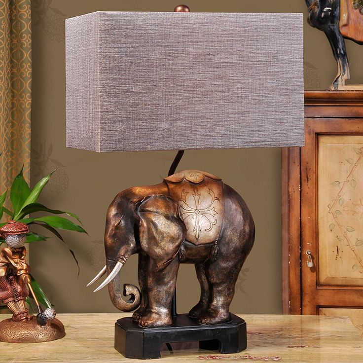 Southeast Asian elephant lamp classical European American decorative table lamp bedroom bedside lamp living room lamp creative #Affiliate