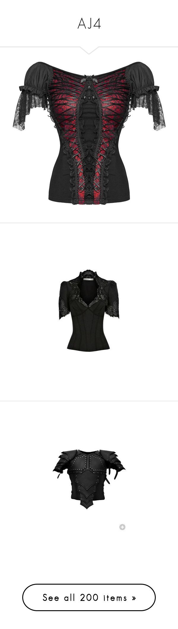 """""""AJ4"""" by punkalishous ❤ liked on Polyvore featuring tops, shirts, punk tops, steampunk top, gothic shirts, red top, victorian shirt, blouses, camisas and lace blouse"""