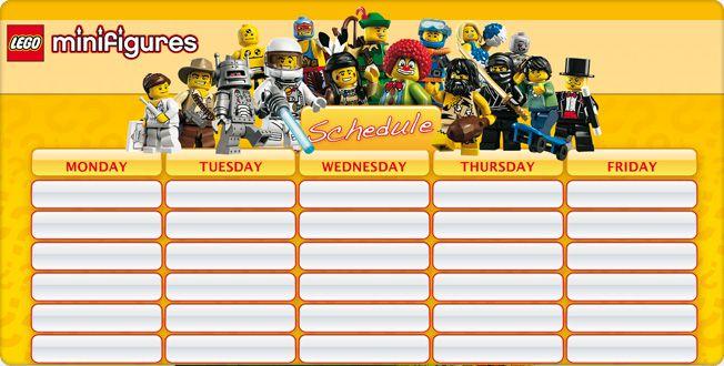 LEGO.com Minifigures : Downloads - School Schedule - School Schedule