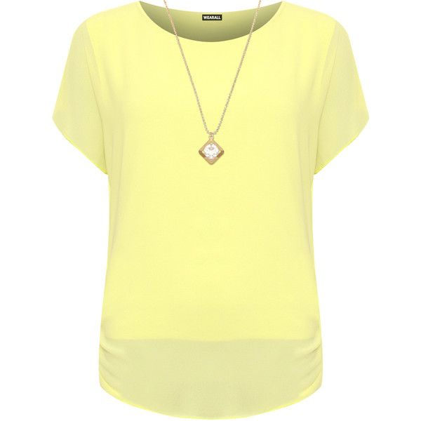 WearAll Plus Size Chiffon Lined Batwing Sleeve Necklace Top ($22) ❤ liked on Polyvore featuring plus size women's fashion, plus size clothing, plus size tops, tops, yellow, bat sleeve tops, plus size chiffon tops, sheer chiffon top, short sleeve tops and see through tops