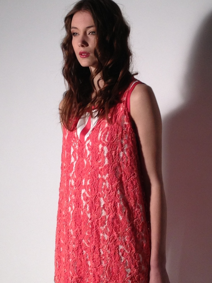 Double #dress #lace on a #stripes #red Daniela Colombo suggests  a mix of fabrics and #texture