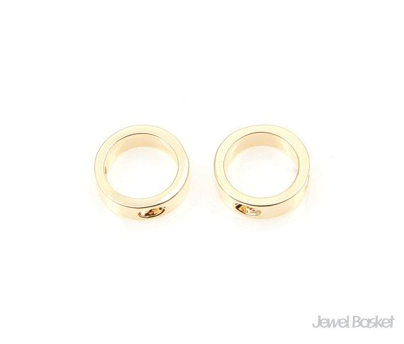 Circle Charm in Gold   - Gold Plated (Tarnish Resistant) - Brass / 8.0mm  - 2pcs / 1pack