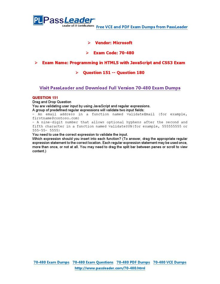 70-480 Exam Dumps with PDF and VCE Download (151-180)