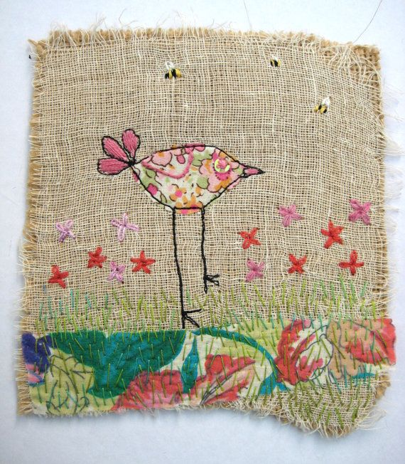 Quirky Bird Liberty Fabric Hand Stitched Textile Art by TorsDuce, £12.50